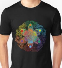 Black Background with 6 Color Design T-Shirt