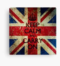 Square Grunge Keep Calm and Carry On Union Jack Canvas Print