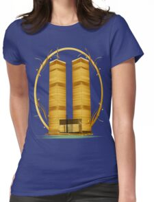 Gold Twin Towers Oval Womens Fitted T-Shirt
