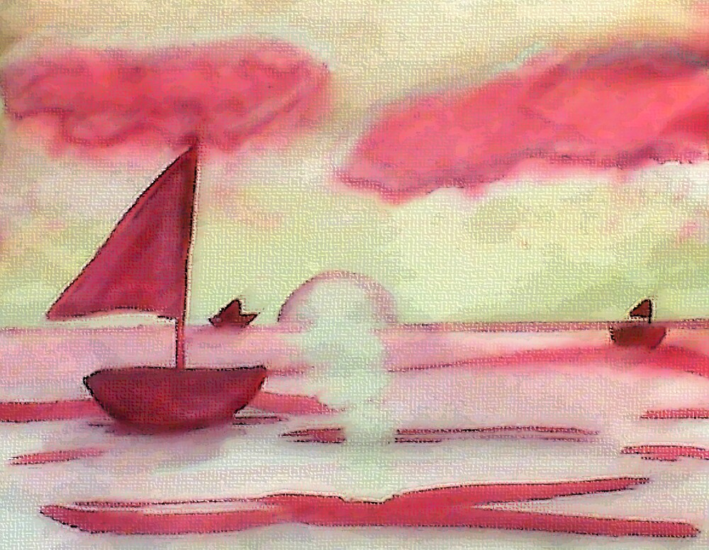Tranquil sunset, watercolor by Anna  Lewis, blind artist