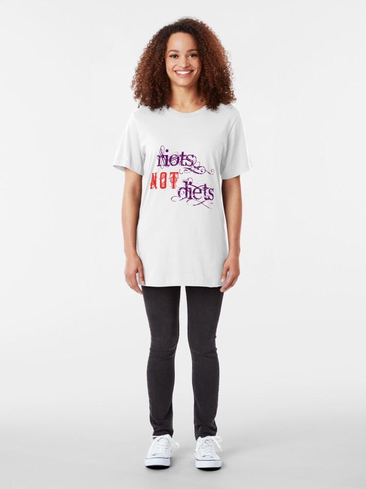 Alternate view of Riots Not Diets (Purple and Red) Slim Fit T-Shirt