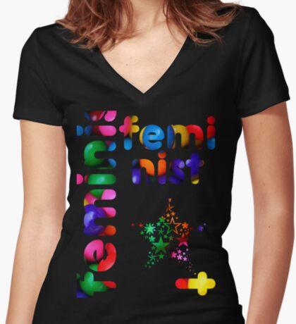 Jelly Bean Feminist Women's Fitted V-Neck T-Shirt