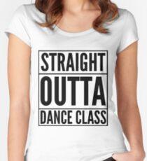 Camiseta entallada de cuello redondo Straight Outta Dance Class (Negro en transparente)