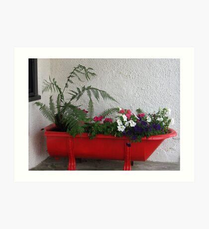 Red Bath Tub Art Print