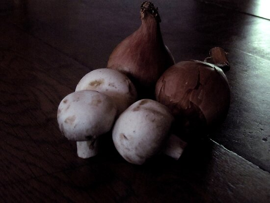 French Shallots and Mushrooms in Morning Light by Patty Gross
