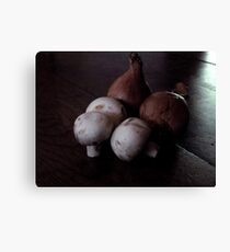French Shallots and Mushrooms in Morning Light Canvas Print