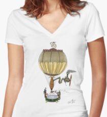 STEAMPUNK HOT AIR BALLOON Women's Fitted V-Neck T-Shirt