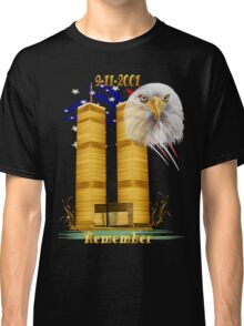 Gold Twin Towers, Eagle n Flag Classic T-Shirt