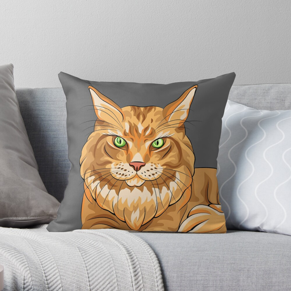 Magnificent Maine Coon Cat Throw Pillow
