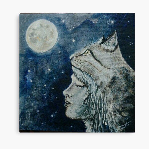 Chat lunaire Impression sur toile