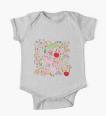 baby sketch pattern with animals and hearts One Piece - Short Sleeve