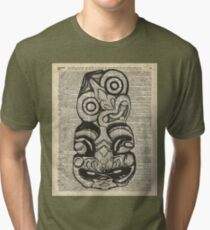 Mask Voo Doo Ink Illustration,Psychodelic,Primeaeval Art,Dictionary Tri-blend T-Shirt