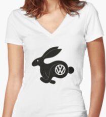 Camiseta entallada de cuello en V Conejo