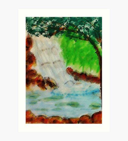 Cooling waterfall, watercolor Art Print