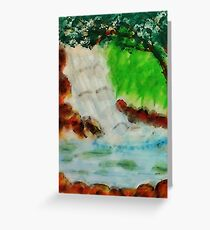 Cooling waterfall, watercolor Greeting Card