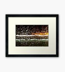 Rain Drops and Neon Framed Print