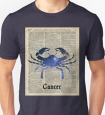 Cancer Crab Zodiac Sign,Space Stencil Collage over old Encyclopedia Page T-Shirt