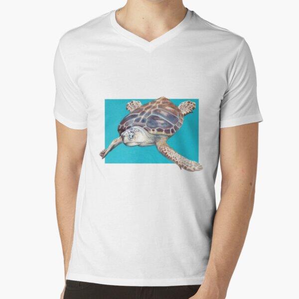Loggerhead Sea Turtle Art by Artist Sherrie Spencer V-Neck T-Shirt