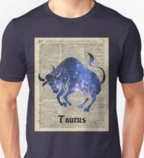 Taurus Zodiac Sign,Space Collage Over Old Vintage Encyclopedia Page Unisex T-Shirt