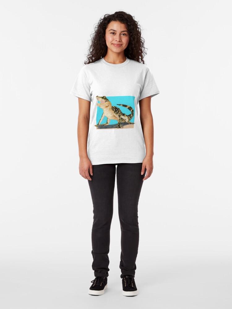 Alternate view of Baby Alligator Smiling! art by Wildlife Artist Sherrie Spencer Classic T-Shirt