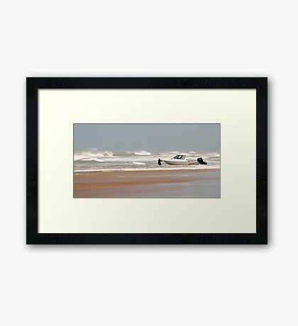 Gone Fishing - Baylys Beach boaties Framed Print