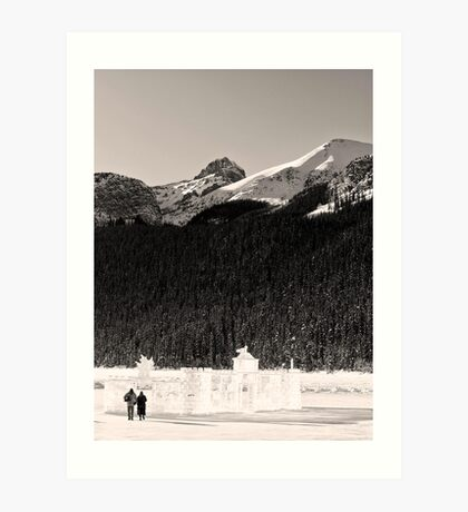 Lovers Stroll from an Ice Castle Art Print