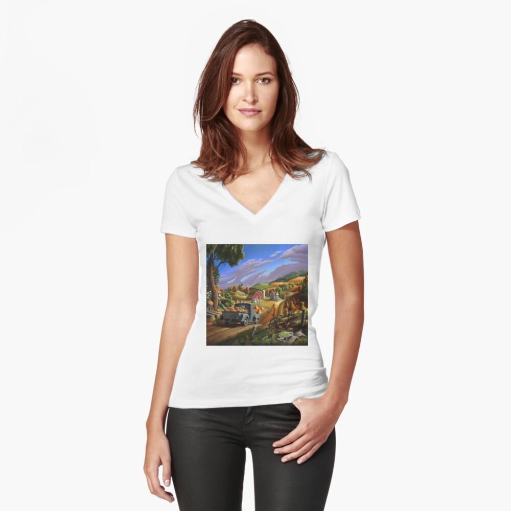 Taking Pumpkins To Market Fall Farm Landscape - Thanksgiving Folk Art Women's Fitted V-Neck T-Shirt Front