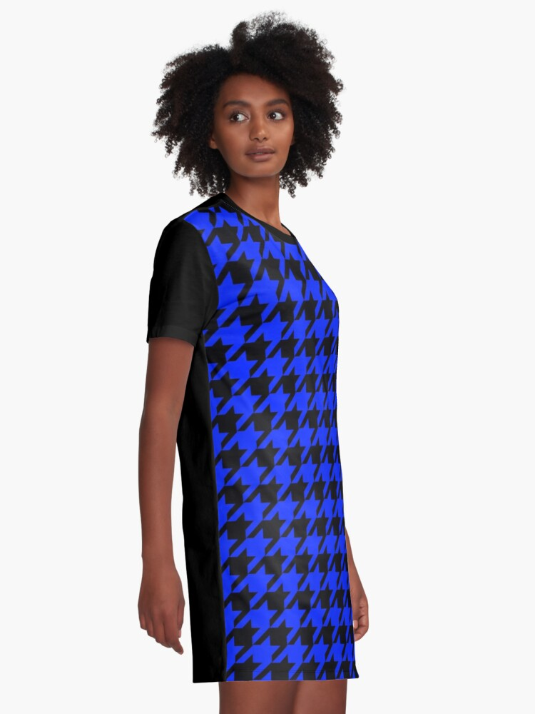 Alternate view of Royal blue black houndstooth pattern Graphic T-Shirt Dress
