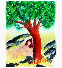 Secret meditation spot  naked, watercolor Poster