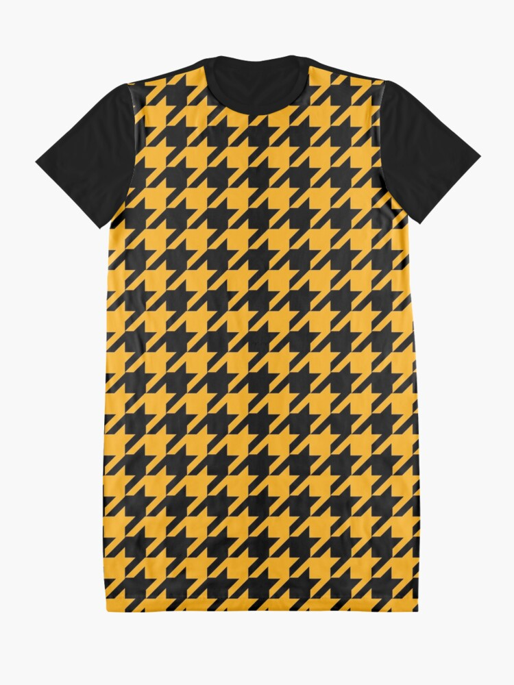 Alternate view of Mustard yellow black houndstooth pattern Graphic T-Shirt Dress