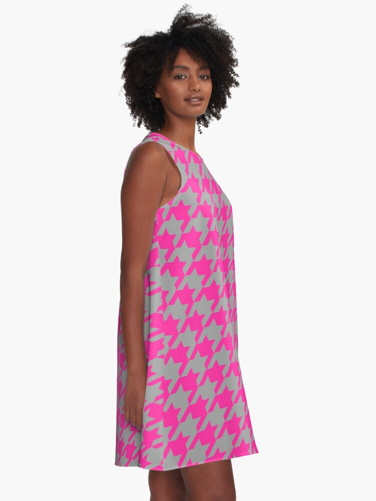 Alternate view of Hot pink grey houndstooth pattern A-Line Dress