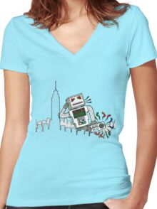 Robot Takes New York Women's Fitted V-Neck T-Shirt