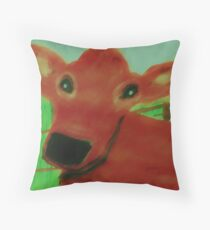 Maime, the cow, watercolor Throw Pillow