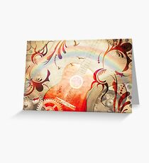Retro guitar background Greeting Card