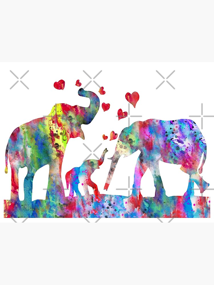 Elephant, Elephant family, Mother and baby elephant by Rosaliartbook