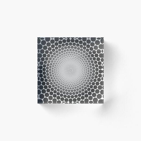Optical Illusion Radial Gradient Slate on White NOIR 1 Acrylic Block
