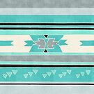 Rustic Tribal Pattern in Teal, Charcoal and Cream by Tangerine-Tane