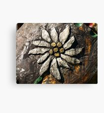 Edelweiss Wood Carving. Canvas Print