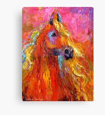 Red Impressionistic Arabian Horse painting Canvas Print
