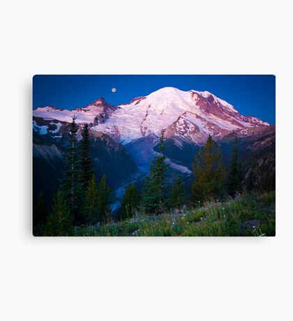 White River Moonset Canvas Print