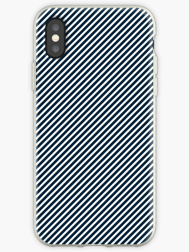 Midnight Blue & White Micro Christmas Candy Cane Diagonal Stripe by podartist