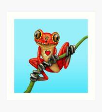 Roter Tag des toten Zuckerschädel-Baum-Frosches Kunstdruck