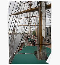 The sail rigging on the Gloria. Poster