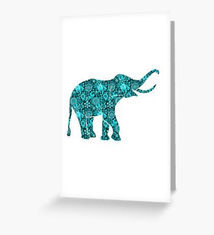 Retro Flowers Cute Turquoise Blue Elephant Greeting Card