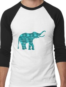 Retro Flowers Cute Turquoise Blue Elephant T-Shirt