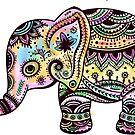 Cute Colorful Retro Flowers Elephant Illustration by artonwear