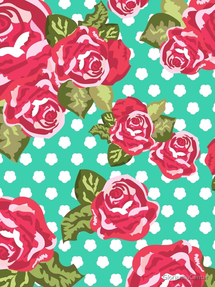 Roses with dots on mint color pattern by GloriannaCenter