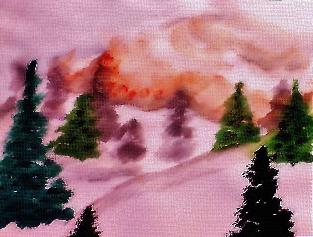 Just before the snow at sunset, watercolor by Anna  Lewis, blind artist