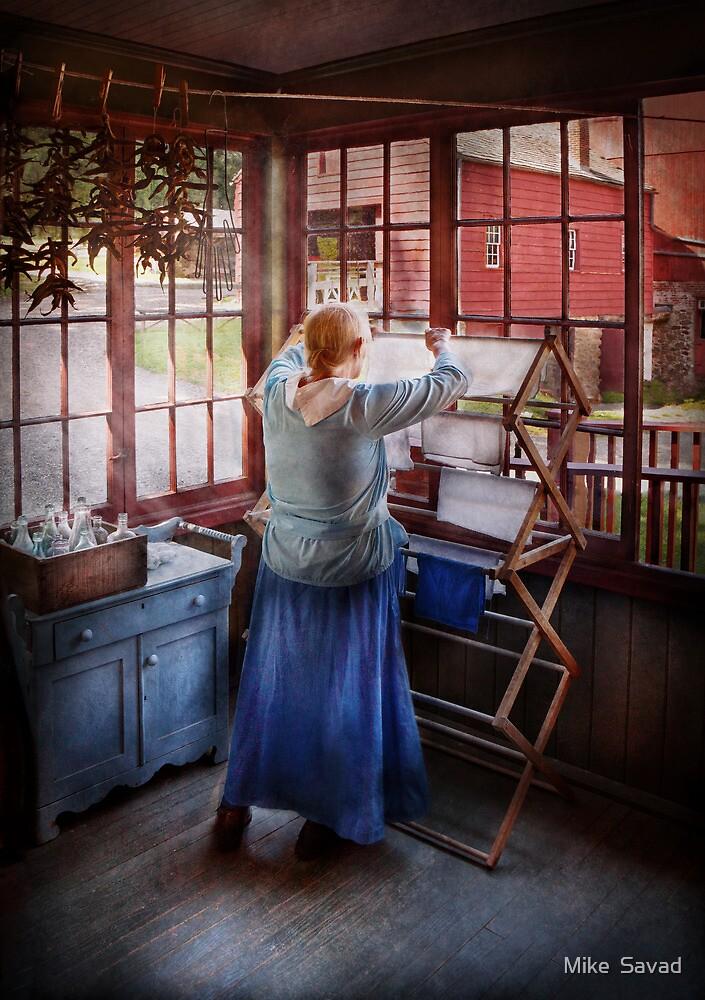 Laundry - Miss Lady Blue  by Michael Savad