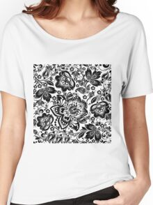 Black and white baroque Floral Seamless Pattern Women's Relaxed Fit T-Shirt